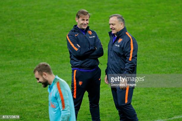assistant trainer Frans Hoek of Holland Jeroen Zoet of Holland coach Dick Advocaat of Holland during the match between Training Holland in Bucharest...