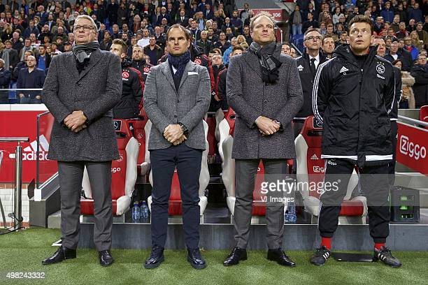 assistant trainer Hennie Spijkerman of Ajax coach Frank de Boer of Ajax assistant trainer Dennis Bergkamp of Ajax goalkeeper coach Carlo l Ami of...