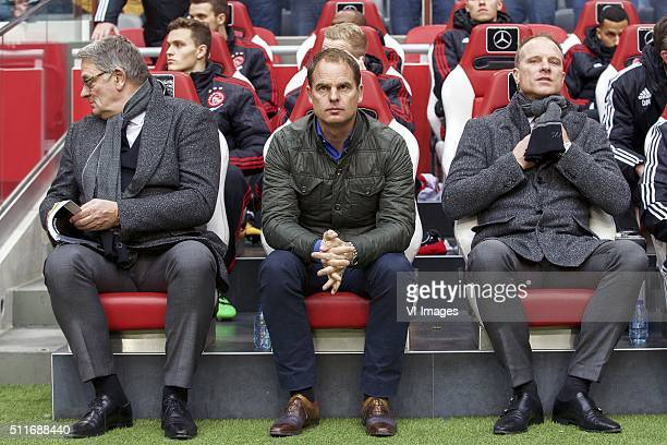 LR assistant trainer Hennie Spijkerman of Ajax coach Frank de Boer of Ajax assistant trainer Dennis Bergkamp of Ajax during the Dutch Eredivisie...