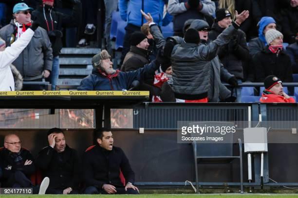 assistant trainer Jan Wouters of Feyenoord assistant trainer Jean Paul van Gastel of Feyenoord coach Giovanni van Bronckhorst of Feyenoord during the...