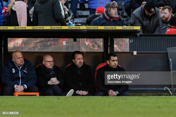 assistant trainer Jan Wouters of Feyenoord assistant trainer Jean Paul van Gastel of Feyenoord coach Giovanni van Bronckhorst of Feyenoord during the...