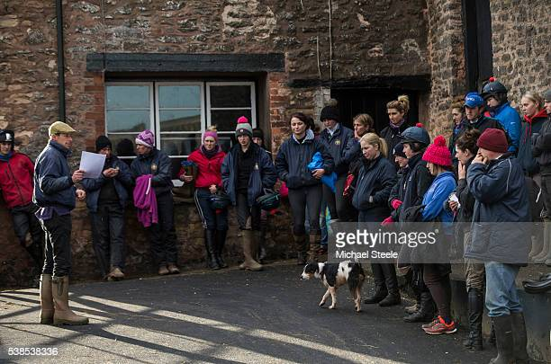 Assistant trainer Johnson White addresses staff at Sandhill Racing Stables on January 8 2016 in Minehead England Sandhill Racing Stables set in 500...
