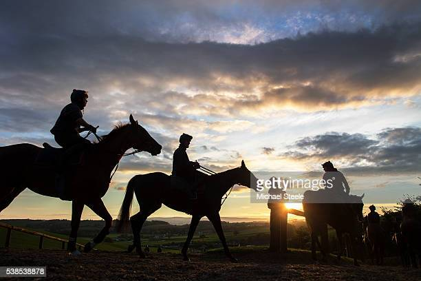 Assistant trainer Johnson White looks on as the first lot head down from the top of the polytrack gallop at Sandhill Racing Stables on October 20...