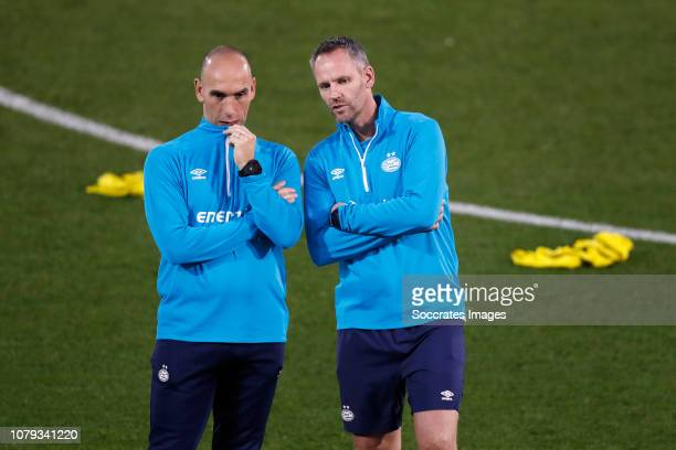 assistant trainer Jurgen Dirkx of PSV Andre Ooijer of PSV during the Training Camp PSV in Qatar on January 7 2019 in Doha Qatar