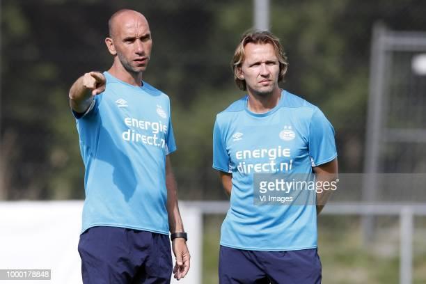 Assistant trainer Jurgen Dirkx of PSV Assistant trainer Boudewijn Zenden of PSV during the training camp of PSV Eindhoven at the Stade StMarc...