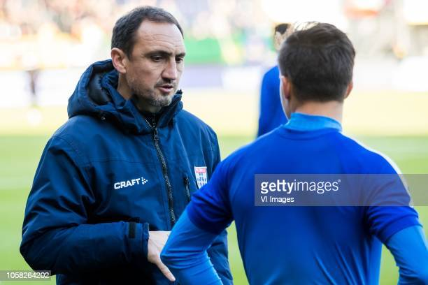 assistant trainer Michael Valkanis of PEC Zwolle Denis Genreau of PEC Zwolle during the Dutch Eredivisie match between Fortuna Sittard and PEC Zwolle...
