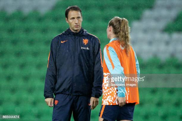 assistant trainer Michel Kreek of Holland Women Desiree van Lunteren of Holland Women during the match between Training Holland Women at the...