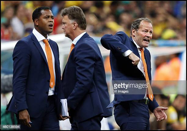 Assistant trainer Patrick Kluivert coach Louis van Gaal assistant trainer Danny Blind during the World Cup 2014 playoff match for third place between...