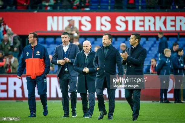 assistant trainer Roy Makaay of Feyenoord assistant trainer Jan Wouters of Feyenoord assistant trainer Jean Paul van Gastel of Feyenoord coach...
