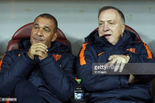 assistant trainer Ruud Gullit of Holland coach Dick Advocaat of Holland during the friendly match between Romania and The Netherlands on November 14...