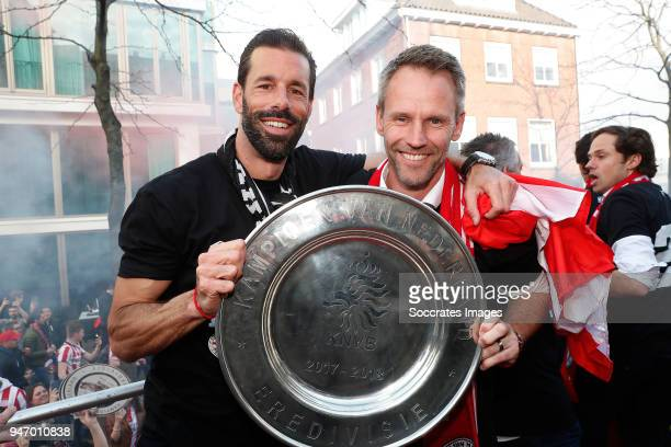 assistant trainer Ruud van Nistelrooij of PSV assistant trainer Andre Ooijer of PSV during the champions parade during the PSV champions parade at...