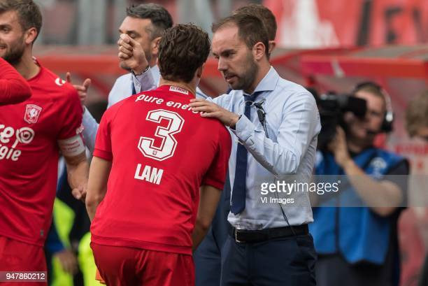 Assistant trainer Sjors Ultee of FC Twente give instructions to Thomas Lam of FC Twente during the Dutch Eredivisie match between FC Twente Enschede...