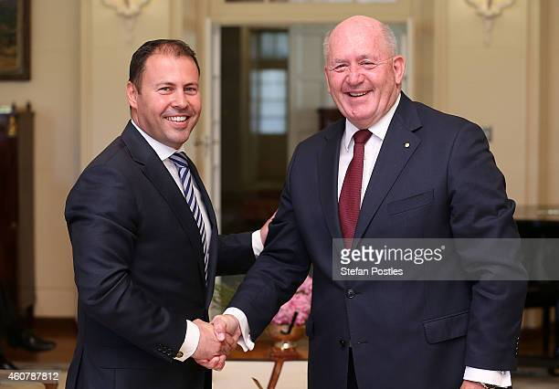 Assistant Treasurer Josh Frydenberg is sworn in by GovernorGeneral Peter Cosgrove at Government House on December 23 2014 in Canberra Australia...