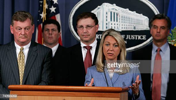 Assistant US Attorney General Alice Fisher speaks speaks at the announcement of a 16count indictment handed down against US Rep William Jefferson...