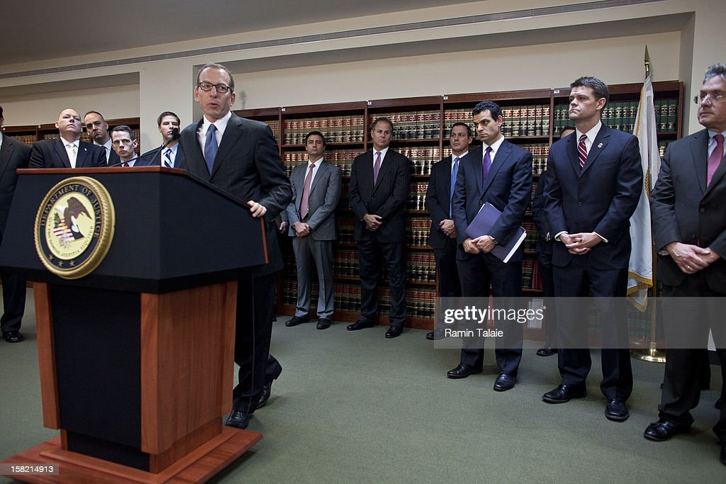 Assistant US Attorney General Lanny Breuer speaks during a news conference to announce money laundering charges against HSBC on December 11, 2012 in the Brooklyn borough of New York City. HSBC Holdings plc and HSBC USA NA have agreed to pay $1.92 billion and enter into a deferred prosecution agreement with the U.S. Department of Justice in regards to charges involving money laundering with Mexican drug cartels.
