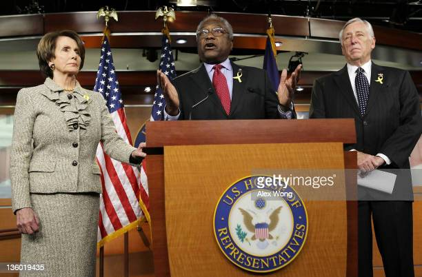 Assistant US House Minority Leader Rep James Clyburn speaks as House Minority Whip Steny Hoyer and House Minority Leader Rep Nancy Pelosi listen...