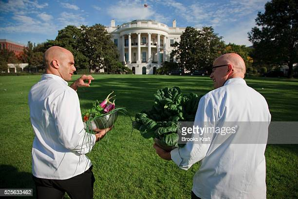 Assistant White House Chef Sam Kass and Pastry Chef Bill Yosses walk back to the White House, after working in the Kitchen Garden located on the...