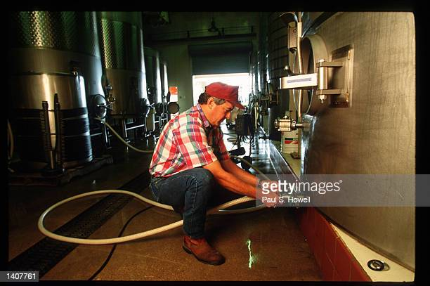 Assistant winemaker Tom Barkley works at Fall Creek Vineyards August 6 1992 in Austin TX There are 26 wineries in Texas and the wines are ranked with...