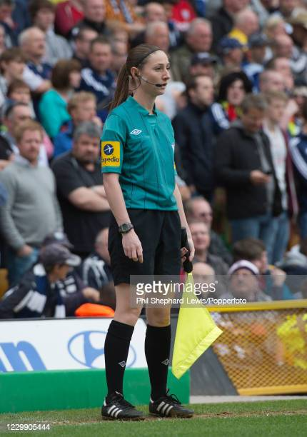 Assistant-Referee Sian Massey in action during the Barclays Premier League match between Norwich City and West Bromwich Albion at Carrow Road on May...