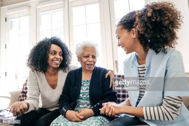 assisted living center - african american family home stock photos and pictures