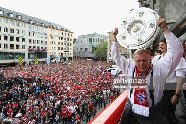 Assistent Coach Hermann Gerland of Bayern Muenchen celebrates the German championship title on the balcony of the town hall on May 9 2010 in Munich...