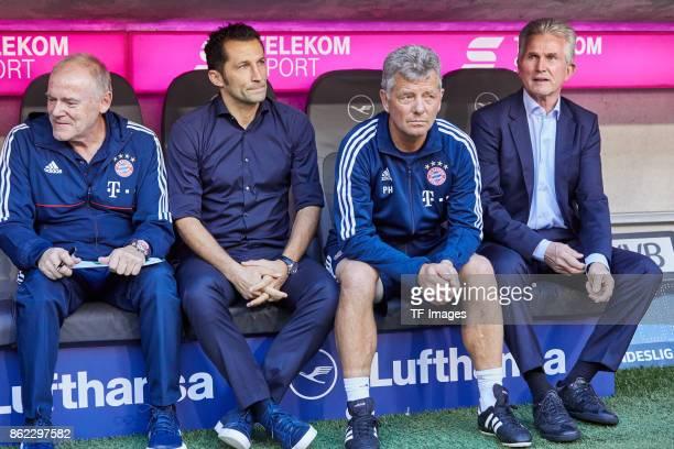 Assistent coach Hermann Gerland of Bayern Muenchen Hasan Salihamidzic of Bayern Muenchen Assistent coach Peter Hermann of Bayern Muenchen and Head...