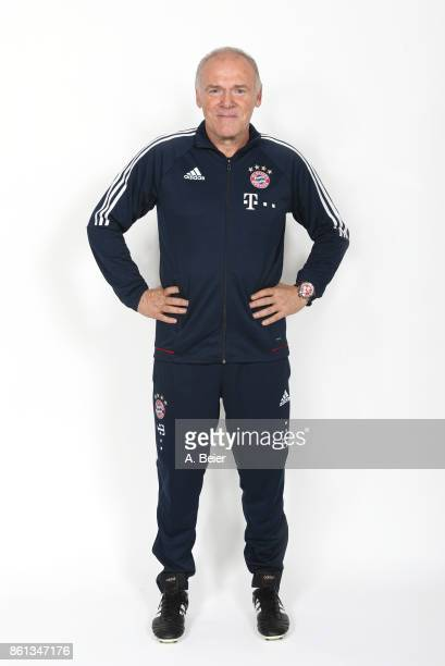 Assistent coach Hermann Gerland of FC Bayern poses during a photo session at the FC Bayern Muenchen training ground on October 10 2017 in Munich...