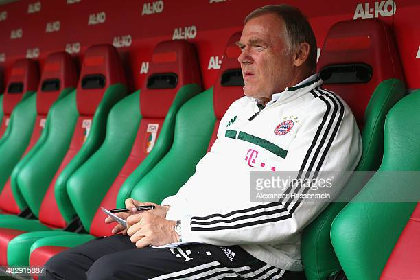 Assistent coach Hermann Gerland of Muenchen looks on prior to the Bundesliga match between FC Augsburg and FC Bayern Muenchen at SGL Arena on April 5...