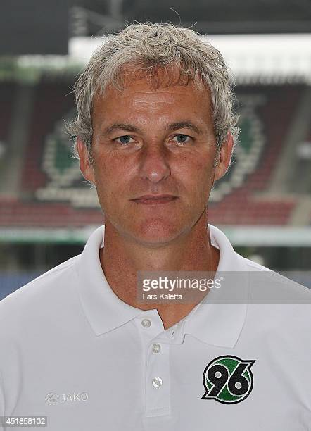 Assistent coach Xaver Zembrod poses during the team presentation at HDIArena on July 8 2014 in Hanover Germany