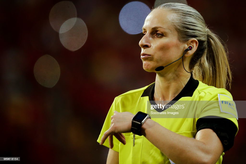 assistent referee Chrysoula Kourompylia during the International Friendly match between Belgium v Egypt at the Koning Boudewijnstadion on June 6, 2018 in Brussel Belgium