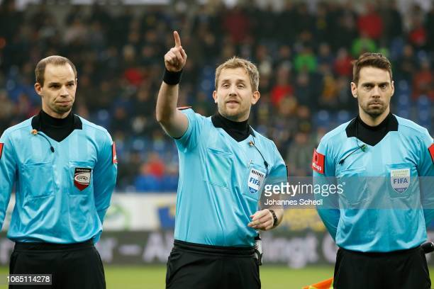 Assistent referee Stefan Pichler referee Julian Weinberger and assistant referee Andreas Heidenreich during the tipico Bundesliga match between SKN...
