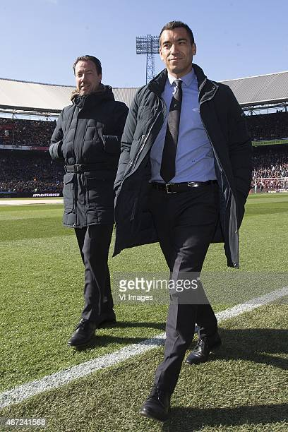 Assistent trainer Jean Paul van Gastel of Feyenoord Assistent trainer Giovanni van Bronckhorst of Feyenoord during the Dutch Eredivisie match between...
