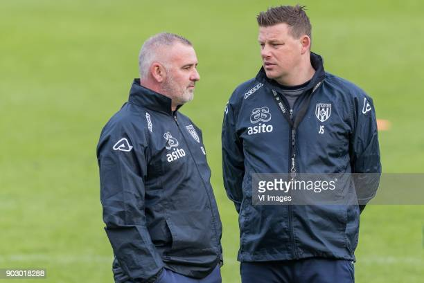 assistent trainer Rob Alflen of Heracles Almelo coach John Stegeman of Heracles Almelo during a training session of Heracles Almelo at the Don Julia...