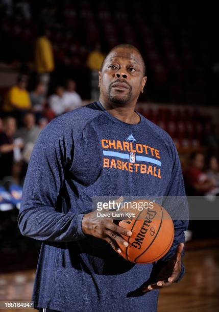 Assistnat head coach Patrick Ewing of the Charlotte Bobcats handles the ball during warm ups prior to the game against the Cleveland Cavaliers at the...