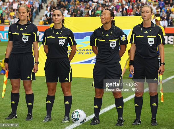 Assitant referee Anna Nystrom fourth official Thalia Mitsi referee Jenny Palmqvist and assistant referee Helen Karo are seen prior to the FIFA...