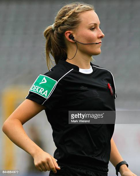Assitant referee Fabienne Michel in action during the women Bundesliga match between Bayern Muenchen and SC Freiburg at Stadion an der Gruenwalder...