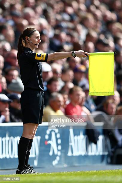 Assitant Referee Sian Massey in action during the Barclays Premier League match between Tottenham Hotspur and Everton at White Hart Lane on April 7,...