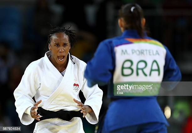 Assmaa Niang of Morocco competes against Maria Portela of Brazil during a Women's 70kg bout on Day 5 of the Rio 2016 Olympic Games at Carioca Arena 2...