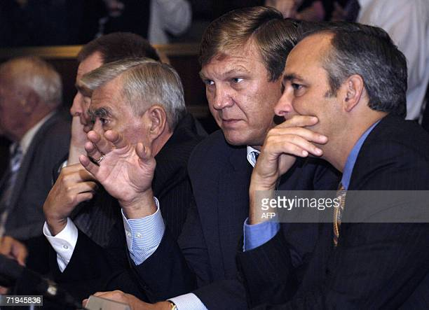 Associate Administrator Rex Geveden watches with Alex Krasnov the head of the Piloted Programs for the Russian Federal Space Agency at the Russian...
