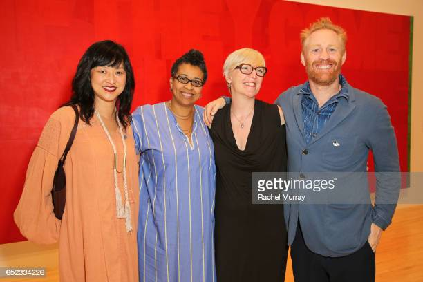Associate Curator of Contemporary Art at LACMA Christine Y Kim Muna el Fituri curator Helen Molesworth and artist Thomas Houseago attend MOCA's...