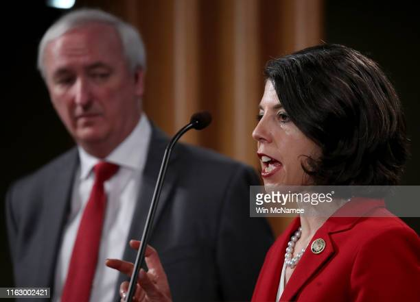 Associate Deputy Attorney General Antoinette Bacon speaks during a press conference at the Justice Department July 19 2019 in Washington DC Deputy...