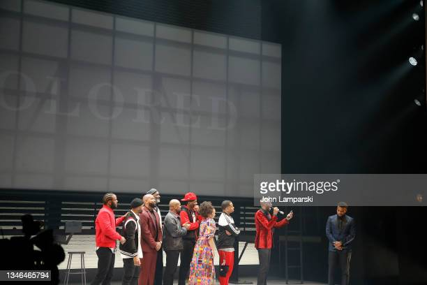 """Associate director Deb Walton and playwright Keenan Scott II join the cast of """"Thoughts Of A Colored Man"""" during opening night at Golden Theatre on..."""