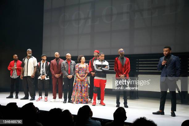 """Associate director Deb Walton , director Steve Broadnax III and playwright Keenan Scott II join the cast of """"Thoughts Of A Colored Man"""" during..."""
