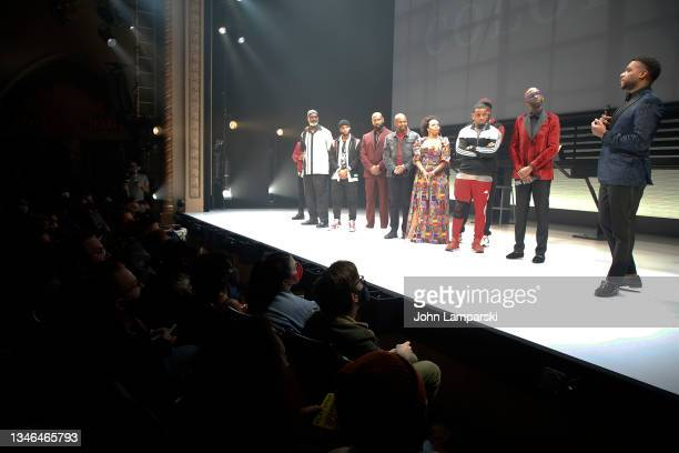 """Associate director Deb Walton, director Steve Broadnax III and playwright Keenan Scott II join the cast of """"Thoughts Of A Colored Man"""" during opening..."""