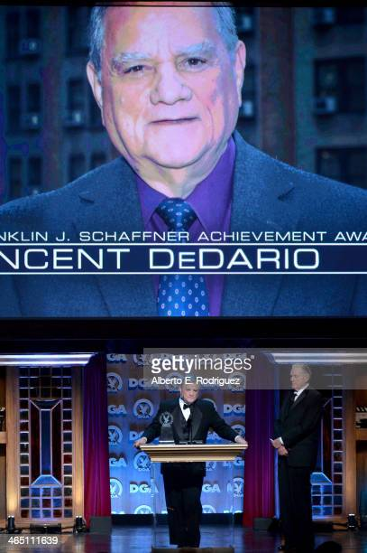 Associate director Vincent DeDario accepts the 2014 Franklin Schaffner Achievement Award from sportscaster Keith Jackson onstage at the 66th Annual...