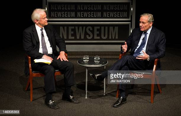 Associate Editor of the Washington Post Bob Woodward speaks with Vice chairman of the Newseum Shelby Coffey III during an event marking the 40th...