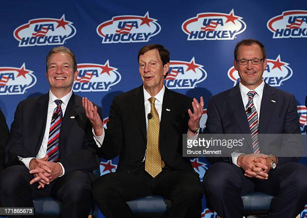 Associate general manager Ray Shero, general manager David Poile and head coach Dan Bylsma of the 2014 Men's Olympic Hockey Team speak with the media...