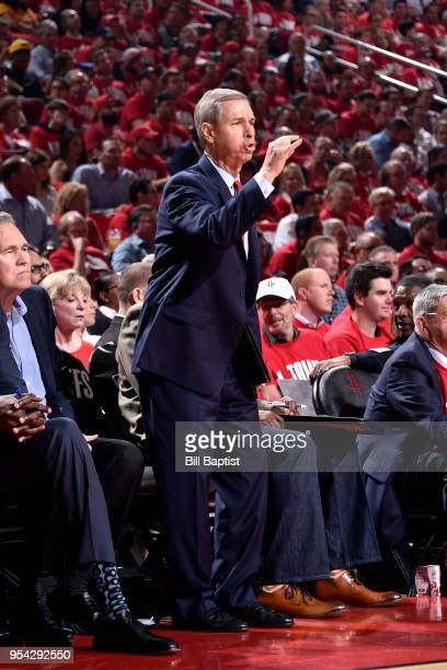 Associate head coach Jeff Bzdelik of the Houston Rockets coaches in Game Two of Round Two of the 2018 NBA Playoffs on May 2 2018 at the Toyota Center...