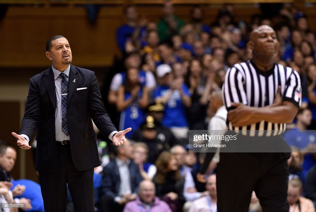 Associate head coach Jeff Capel of the Duke Blue Devils pleads his case with official Les Jones during the game against the Wake Forest Demon Deacons at Cameron Indoor Stadium on January 13, 2018 in Durham, North Carolina. Duke won 89-71.