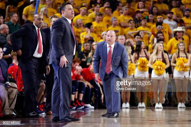 Associate head coach Mark Phelps of the Arizona Wildcats during the second half of the college basketball game against the Arizona State Sun Devils...